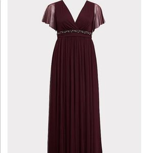 Torrid Special Occasion Burgundy Mesh Gown